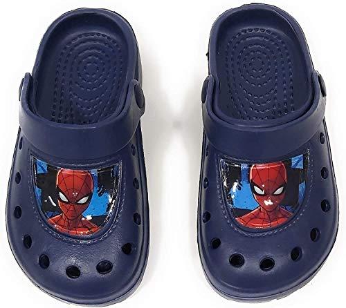 Spiderman Clogs für Kinder - Spyderman Sandalen für Strand oder Pool, Marineblau - Größe: 24/25 EU