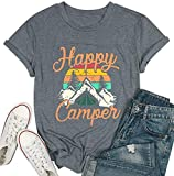 Happy Camper Shirt for Women Funny Cute Graphic Tee Short Sleeve Letter Print Casual Tee Shirts (Gray,M)
