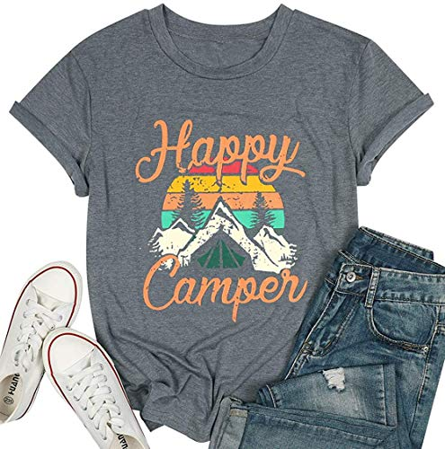 Happy Camper Shirt for Women Funny Cute Graphic Tee Short Sleeve Letter Print Casual Tee Shirts (Gray,L)