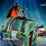 Cofre del tesoro bajo el agua Diver Hunter, paisaje, ornamento, dibujos animados, acuario, decoración
