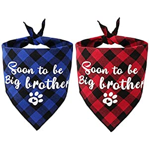 JPB 2 Pack Sooner to be Big Brother Dog Bandana,Pet Baby Announcement Plaid Scarf Gender Reveal Accessories