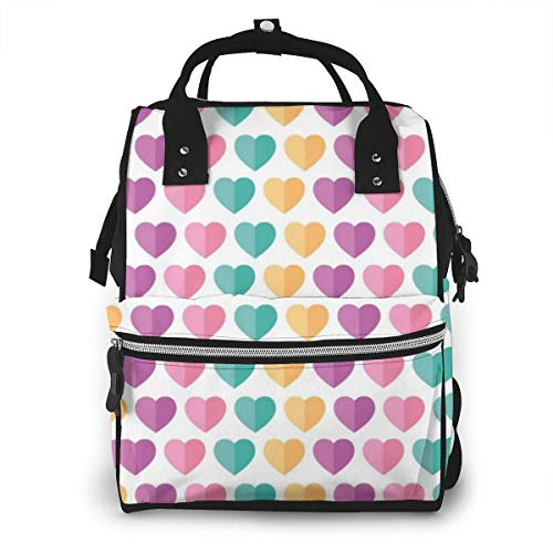 Flat Love Girly Pattern Fashion Diaper Bags Mummy Backpack Multi Functions Waterproof Large Capacity Nappy Bag Nursing Bag for Baby Care for Traveling