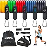 Lxuemlu 【2020 Upgraded】 Resistance Bands Set with Handles, Door Anchor, Ankle Straps and Workout Guide Exercise Bands for Men Women Resistance Training, Home Workouts