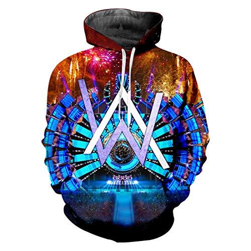 cshsb Alan Walker Unisex Felpa Modello DJ 3D Stampa Felpe con Cappuccio Pullover Hoodie Manica Lunga Sweatshirt con Tasche,A,4XL-5XL
