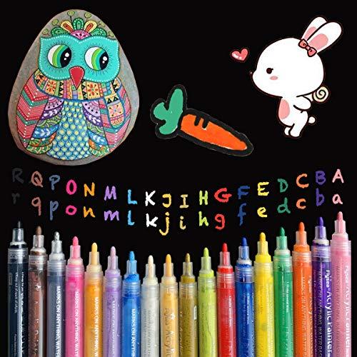 eeQiu Acrylstifte Marker Stifte, Wasserfest Acrylfarben Marker Set ungiftig, zum Bemalen von Steinen, Keramik, Glas, Leinwand, Tassen, Holz und Ostereiern. 18 Farben
