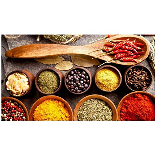 """zxianc Canvas Art Food Painting Modern Grains Spices Spoon Peppers Poster and Print Kitchen Restaurant Home Decor Wall Art Pictures 60x110cm/23.6""""x43.3"""" No Frame"""