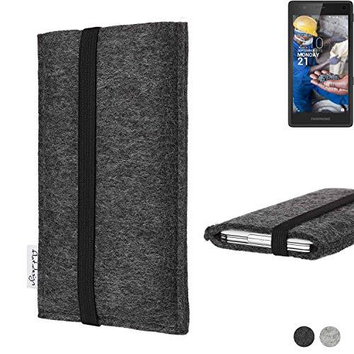flat.design Handy Tasche Coimbra für Fairphone Fairphone 2 - Schutz Hülle Tasche Filz Made in Germany anthrazit schwarz