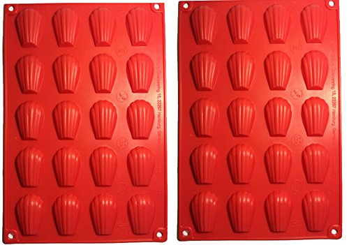 Fasmov 20-Cavity Silicone Madeleine Pan Cookie Mold,Baking Mold, Handmade Soap Moulds and more, Set of 2