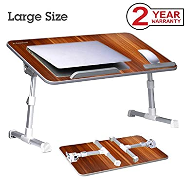 Neetto [Large Size] Adjustable Laptop Bed Table, Portable Standing Desk, Foldable Sofa Breakfast Tray, Notebook Stand Reading Holder for Couch Floor Kids - American Cherry