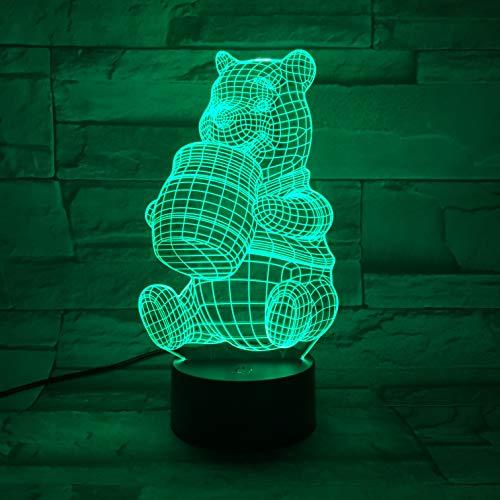 Un Animé Winnie L'ourson veilleuse veilleuse 3D illusion 16 couleurs base en ABS LED Décoration interrupteur tactile télécommandé meilleur cadeau,