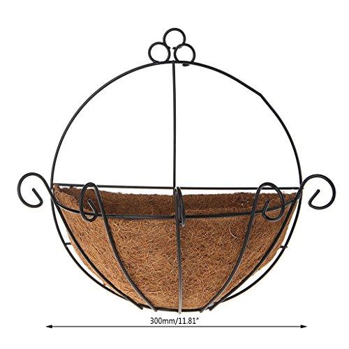 Yangfr Wandhängekörbe Pflanzenhänger Blumentopf Eisen Kokosnuss DIY Garten Hängepflanze Wandkörbe Topf halbrund 12