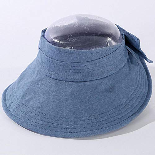 Sun Hats Fashion Sun Hats For Women Ladies Breathable Linen Hat Solid Bow Visor Cap Wide Brim Sun Visor Hat 55-60Cmadjustable Blue