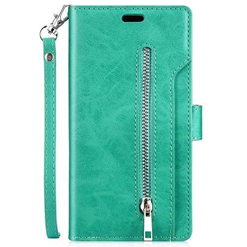 Kompatibel mit Huawei P20 Lite Leder Hülle,URFEDA Handytasche Schutzhülle Tasche Case [ 9 Kartensteckplätze ] Reißverschluß Brieftasche Flip Ständer Magnetverschluss Klappehülle,Grün