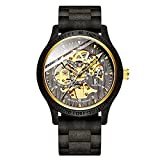 Men's Wooden Automatic Mechanical Watch Wooden Strap Hollow Transparent Hand Watch Party Couple Birthday Valentine's Day Gift Gift Black