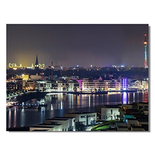 #detailverliebt Wand-Bild mit Dortmunder Skyline Motiv I dv_563 I 80 x 60 cm Leinwand I Kunstdruck Quer-Format matt Dortmund bei Nacht XXL groß