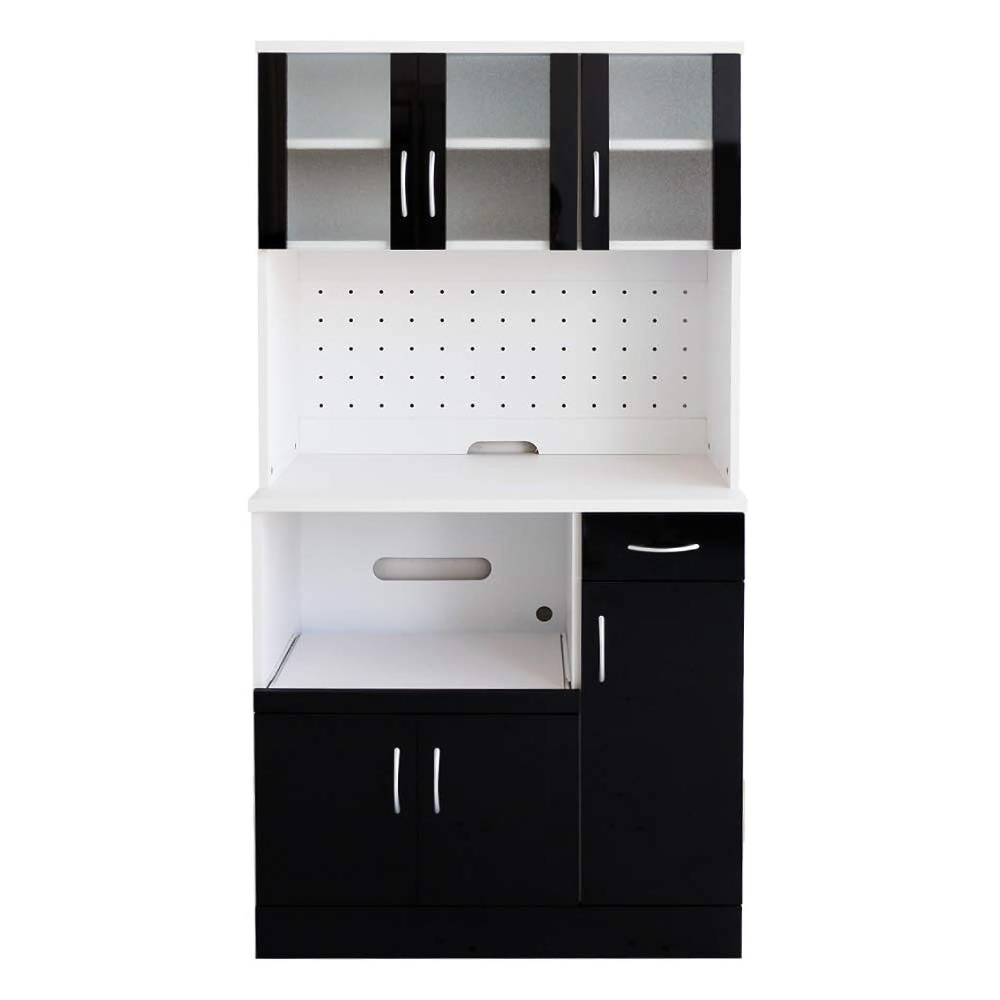 知人計算地下高級感溢れる鏡面仕上げ キッチンボード レンジ台 レンジボード 食器棚 幅90cm ミラージュ (ブラック) / スリム 木製 カップボード 炊飯器 収納 黒