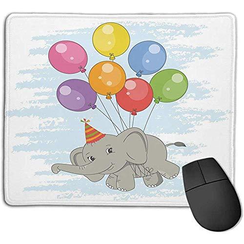 Gaming Mouse Pad Dicker Gummi Große Mauspad Matte Elefant Kinderzimmer Dekor,lustiges fliegendes Säugetier mit bunten Luftballons und Partyhut Comic Art Dekorativ,Multicolor,Geeignet für Notebook-Desk