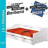 AltoBuy Barbara - Pack Lit Gigogne 90x190 + 1 Matelas Ibiza
