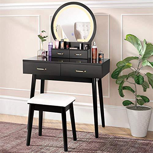 Tocador con Espejo Iluminado, Tocador de Maquillaje con Espejo de Atenuación de Pantalla Táctil, 3 Modos de Iluminación de Color, 4 Cajones, Tocador y Juego de Taburetes Acolchados - Negro