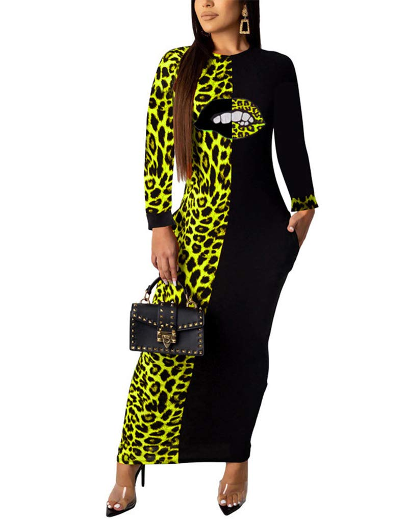 Available at Amazon: OLUOLIN Women Leopard Print Dress Long Sleeve Round Neck Bodycon Maxi Dresses with Pockets Club Party