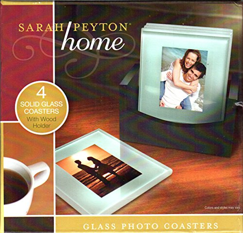 Sarah Payton Home: Solid Glass Photo Coasters with Wood Holder-Stand