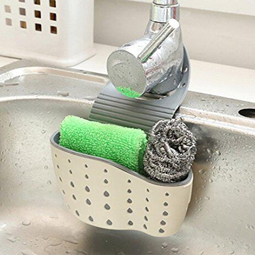 Cesta para vajilla, útil ventosa, para lavabo, estantería, jabón, esponja, rack, cocina, hogar, electrodoméstico, gran accesorio, accesorio para lavavajillas 13x22cm. a