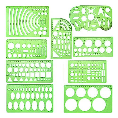 Varadyle 9 Pieces Geometric Drawing Templates Measuring Rulers Plastic Draft Rulers for School Office Building - Clear Green