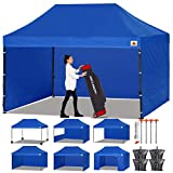 ABCCANOPY Canopy Tent Popup Canopy 10x15 Pop Up Canopies Commercial Tents Market stall with 6 Removable Sidewalls and Roller Bag Bonus 4 Weight Bags and 10ft Half Wall, Royal Blue