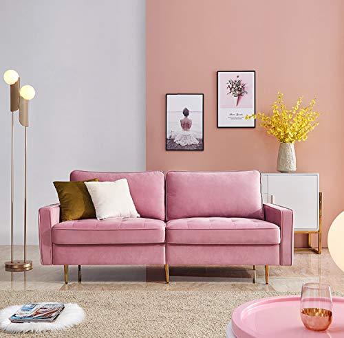 brands Modern Couch für Wohnzimmer Samtsofa Velvet Fabric Sofa Polstermöbel für kleine Wohnungen Gästezimmer Jugendzimmer Aufbau Polstersofa Wohnzimmer (Rosa)