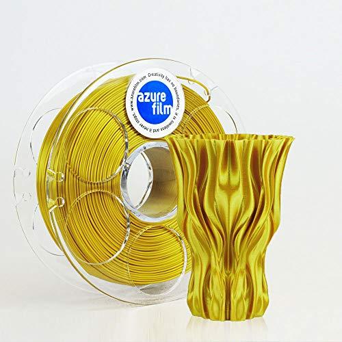 AZUREFILM 3D Filamento Silk Gold para impresión 3D profesional 1,75 mm - Accesorios de impresión 3D indispensables - Precisión dimensional alta +/- 0,02 mm, bobina 1 kg