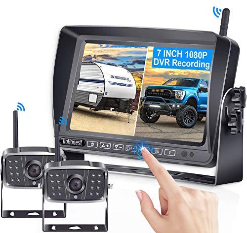 DoHonest V23 HD 1080P Digital Wireless Dual Backup Camera 7'' DVR Split Screen Monitor Kit High-Speed Rear Observation System for Trailer,RV,Truck IR Night Vision IP69K Waterproof