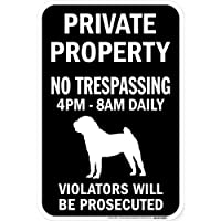PRIVATE PROPERTY ブラックマグネットサイン:シャーペイ シルエット 英語 私有地 無断立入禁止