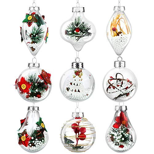 Elcoho 9 Pieces Christmas Ball Ornaments Shatterproof Christmas Balls Fillable Ball Decorations Clear Hanging Ball Decorations for Christmas, Wedding Party Decor