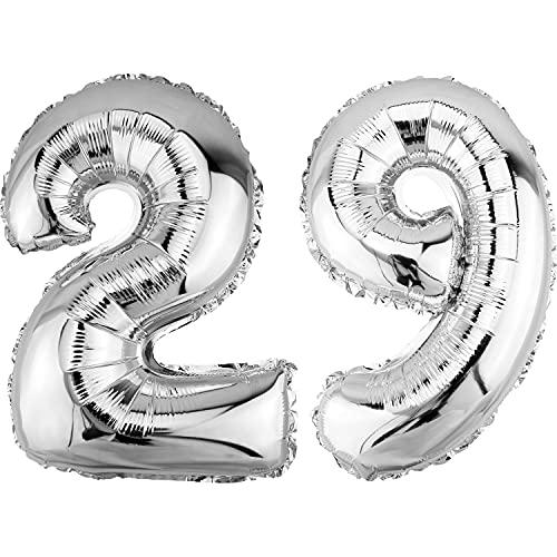 DekoRex Palloncino stagnola Compleanno Decorazione per l'aria 40cm lucidare Argento nomero: 29