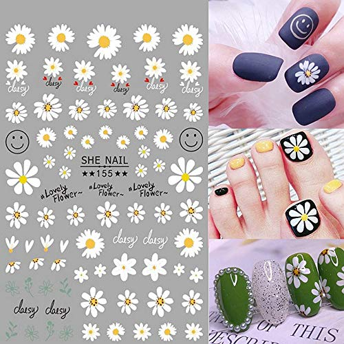 New 2 sheets white daisies adhesive 3d nail sticker foil decals for nails sticker art flower nail art decorations designs tool