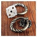 zhengyang Cajón anillo de extracción 5 piezas/set anillo perilla bronce mango redondo con tornillo muebles retro gabinete cajón anillo