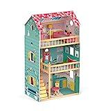 Janod J06580 Happy Day Puppenhaus (Holz), pink/grün