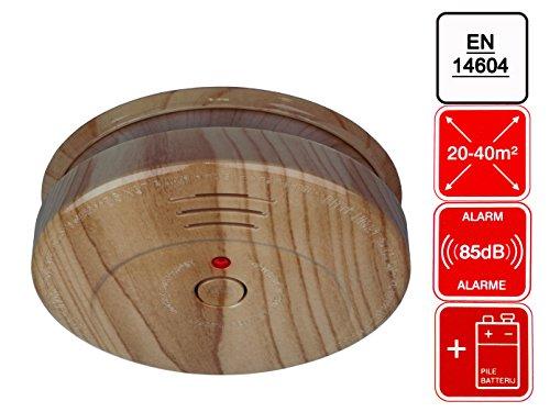 1x Photoelektrischer Rauchmelder ELRO RM144H Holzoptik Brandmelder inkl. 9V Batterie Rauchwarnmelder Brandschutz 85dB