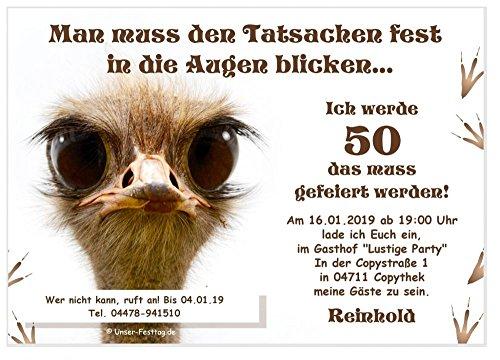 Einladungen für Feste aller Art - Geburtstag Silvester Prüfung Hochzeit - lustig - mit Wunschtext - 20 Karten Din A6