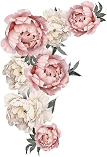 Dolloress Peony Rose Flowers Floral Wall Sticker Wall Art Decals for Kids Room Home Decor Gift[Home DIY][Removable PVC]