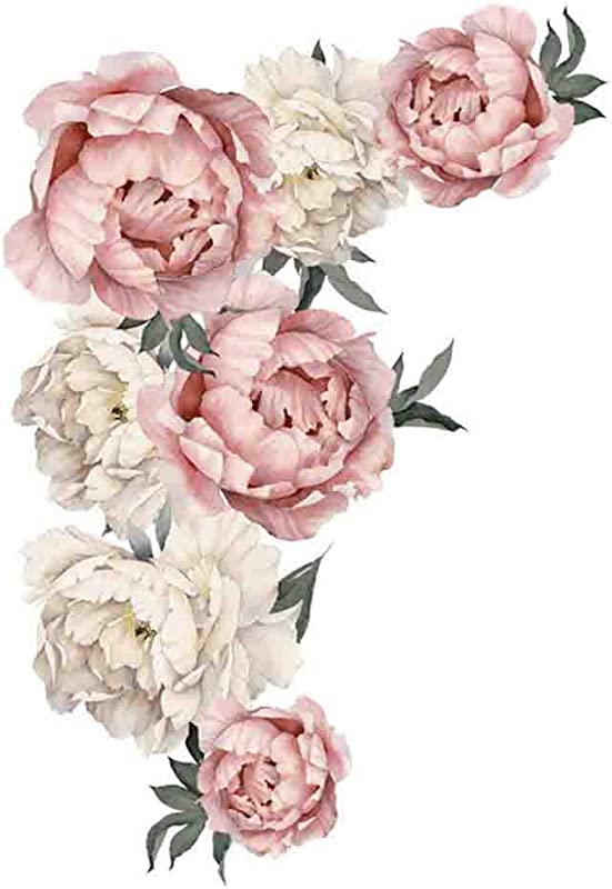 RINKOUa Wall Sticker Peony Rose Flowers Wall Sticker Art Nursery Decals Kids Room Home Decor Gift Peony Flowers Wall Sticker Vintage Pink By Simple Shapes Decor A Approx 40 X 60cm
