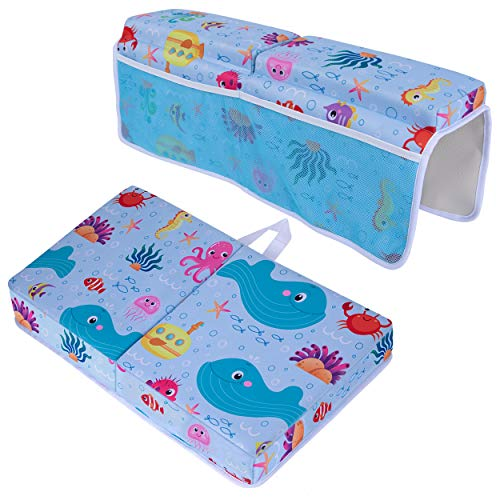 Baby Bath Kneeler and Elbow Rest Pad Set - Non Slip, Waterproof, and Padded Bath Kneeling Pad, Cute Baby Bath Mat, and Arm Rest Cushion with Storage Pockets, Easy to Clean, Foldable. by Plum Leaf