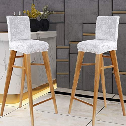 KELUINA Terciopelo Fundas de silla de bar con respaldo,asiento elástico Silla suave para el hogar Funda de silla antideslizante Protector para sillas de cocina de desayuno (2 Piezas,Blanco)
