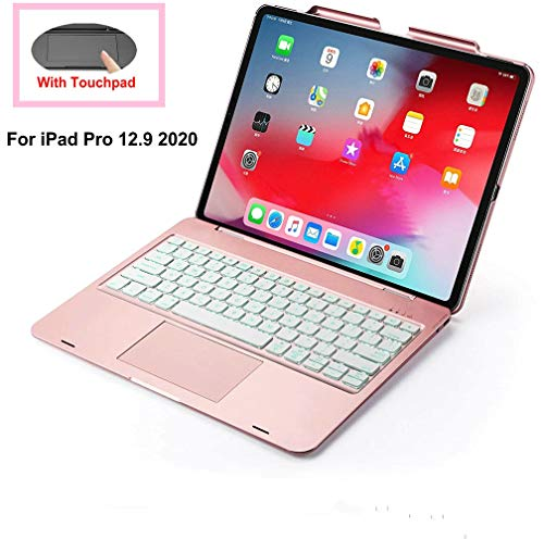 iPad Pro 12.9 2020 Keyboard Case with Touchpad,(4th Generation)Backlits Bluetooth Keyboard Flip Smart Cover with Pencil Holder [Support Apple Pencil Charging] for iPad 12.9 2020 (12.9 2020--Rose Gold)