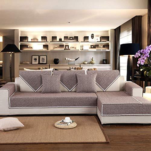 JBNJV Fundas de sofá seccionales Modernas de Terciopelo Funda Protectora de sofá para Perros Funda de sofá en Forma de L Funda reclinable Funda de sillón - Marrón 70x180cm (28x71inch)