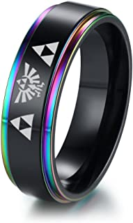 6MM Zelda Triforce Legend of Zelda Stainless Steel Colorful Beveled Edge Ring,Gamer Gift,Size 7-12