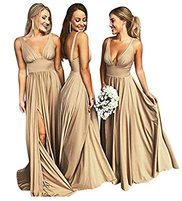 Bridesmaid Dresses V-Neck Long Split Backless Aline Formal Evening Gown for Women Gold 8