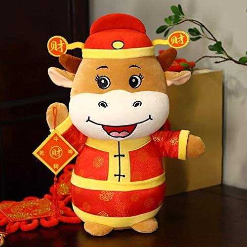 Peerless 1Piece Cow Plush Toy Fortune Red Mascot Soft Cattle Calf Plush Doll Bolster Stuffed Animal Pillow Gift for 2021 Chinese Ox New Year Zodiac Present Home Office Desk Decorations