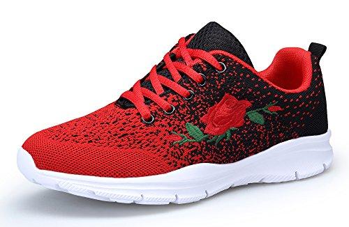 KOUDYEN Zapatillas Deportivas de Mujer Running Zapatos para Correr Gimnasio Calzado (EU41, Negro Rojo)