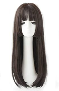 """24.8"""" Crown Hairpiece Clip in Large Base for Full Head Wear Topper with Thin Bangs Black"""